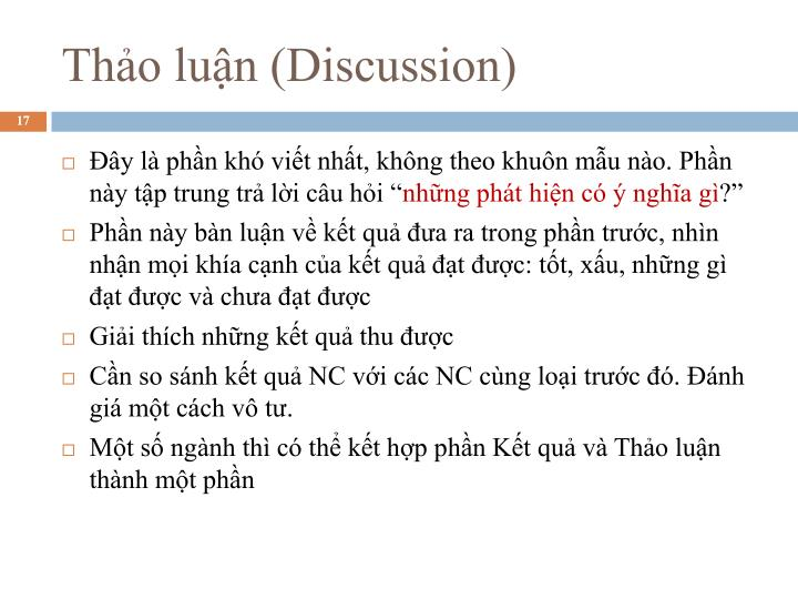Thảo luận (Discussion)