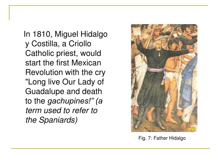 "In 1810, Miguel Hidalgo y Costilla, a Criollo Catholic priest, would start the first Mexican Revolution with the cry ""Long live Our Lady of Guadalupe and death to the"