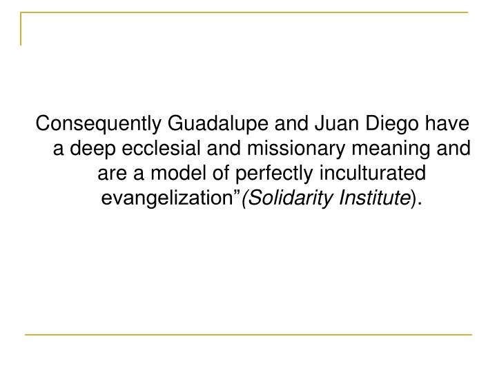 Consequently Guadalupe and Juan Diego have a deep ecclesial and missionary meaning and are a model of perfectly inculturated evangelization