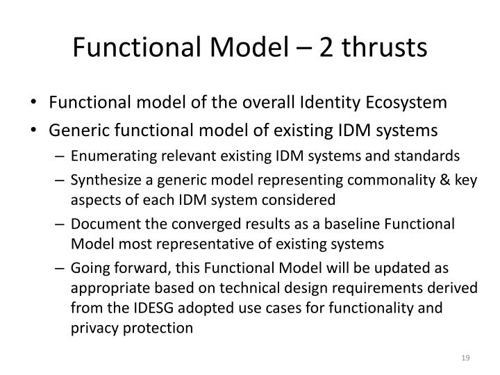 Functional Model – 2 thrusts