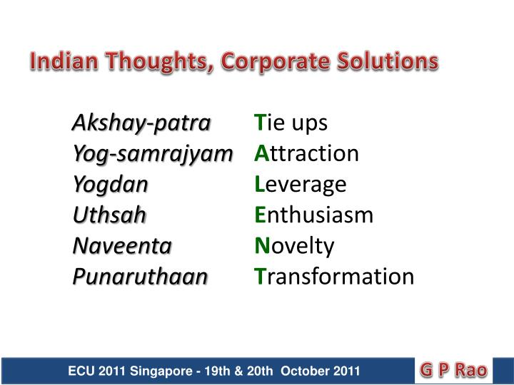 Indian Thoughts, Corporate Solutions