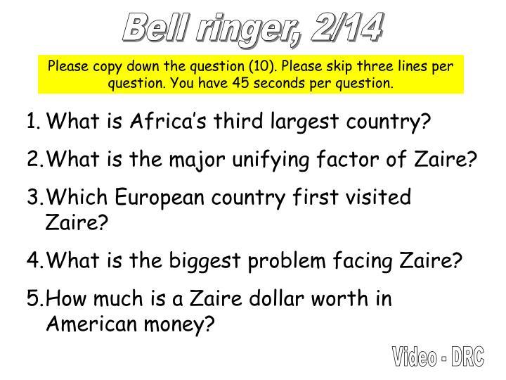 Bell ringer, 2/14