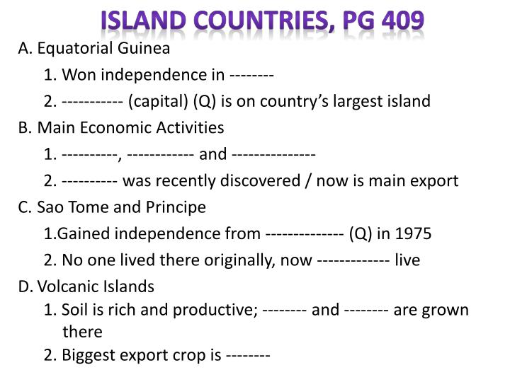 Island Countries, pg 409