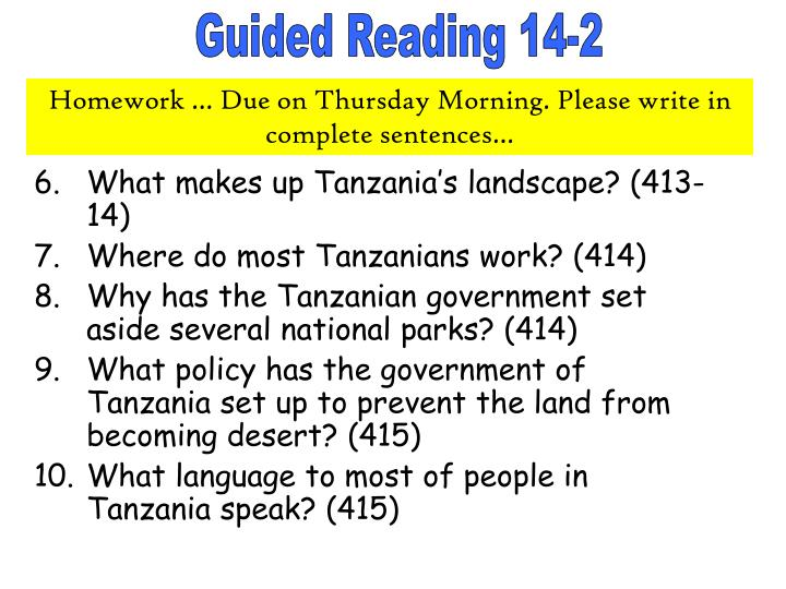 What makes up Tanzania's landscape? (413-14)