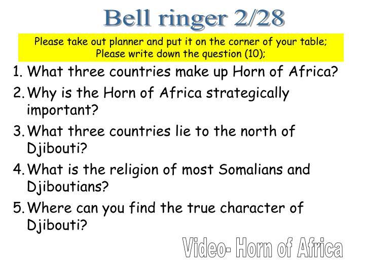 Bell ringer 2/28
