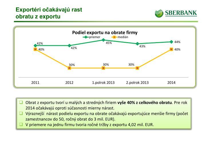 Exportéri očakávajú rast