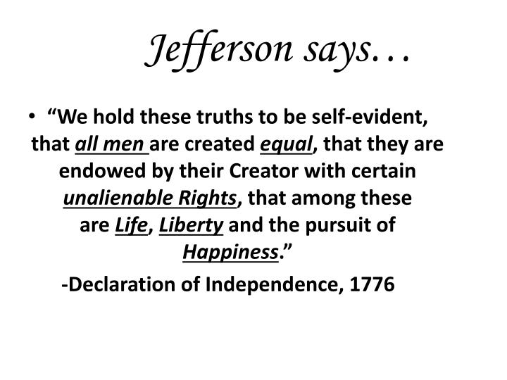 Jefferson says…