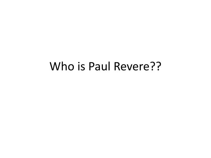 Who is paul revere