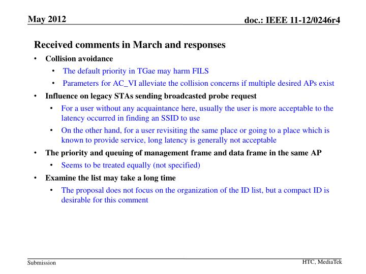 Received comments in March and responses