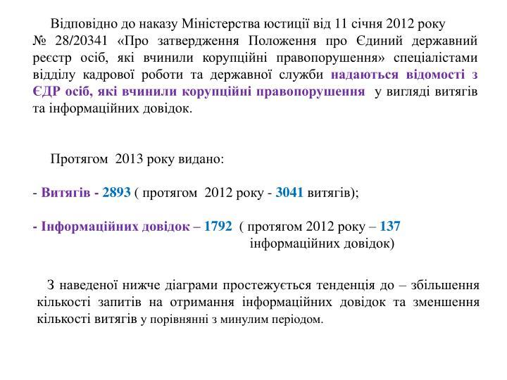 Відповідно до наказу Міністерства юстиції від 11 січня 2012 року