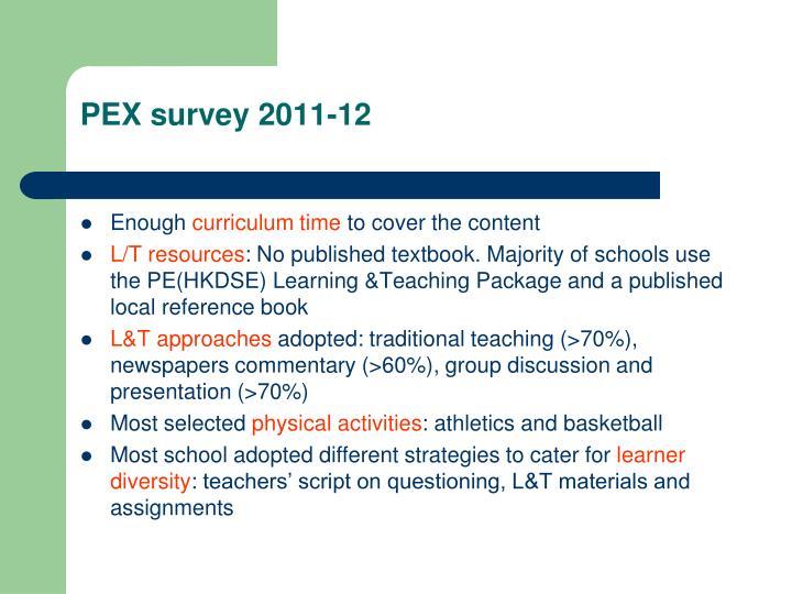PEX survey 2011-12