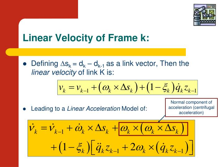 Linear Velocity of Frame k: