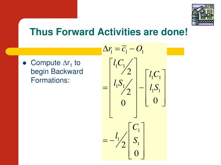 Thus Forward Activities are done!