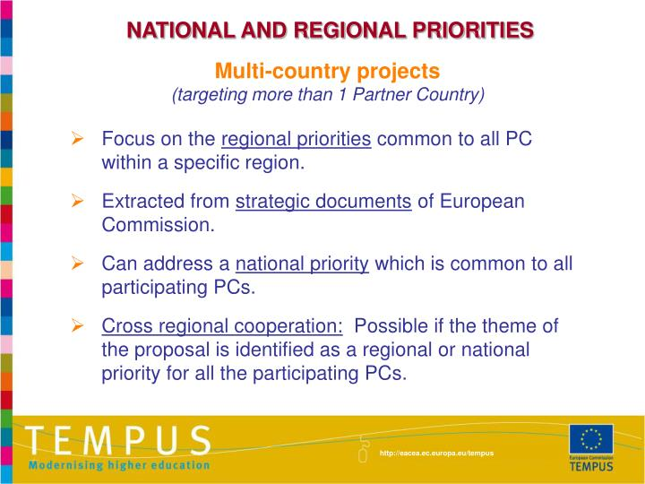 NATIONAL AND REGIONAL PRIORITIES