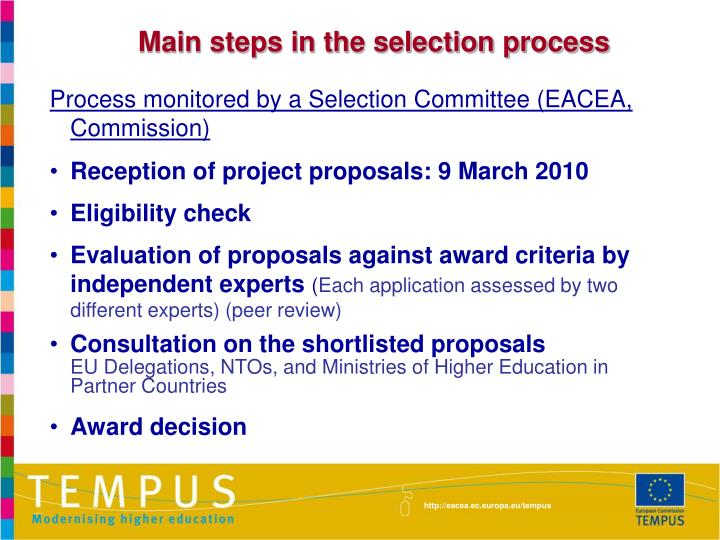 Main steps in the selection process