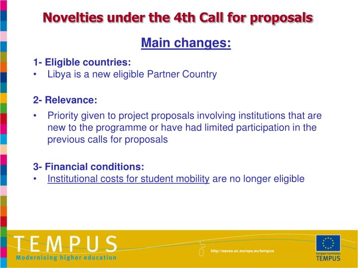 Novelties under the 4th Call for proposals