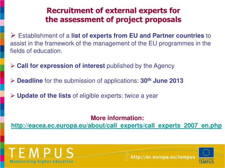 Recruitment of external experts for