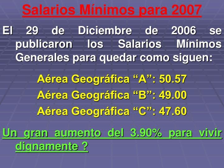 Salarios Mínimos para 2007