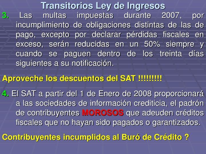 Transitorios Ley de Ingresos