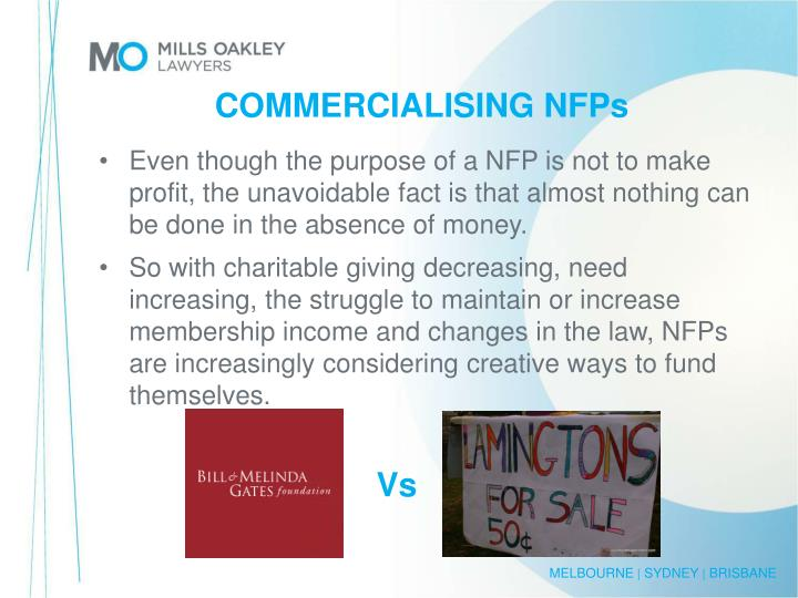 COMMERCIALISING NFPs