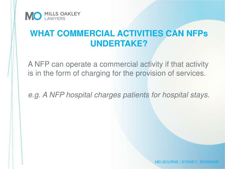 WHAT COMMERCIAL ACTIVITIES CAN NFPs UNDERTAKE?