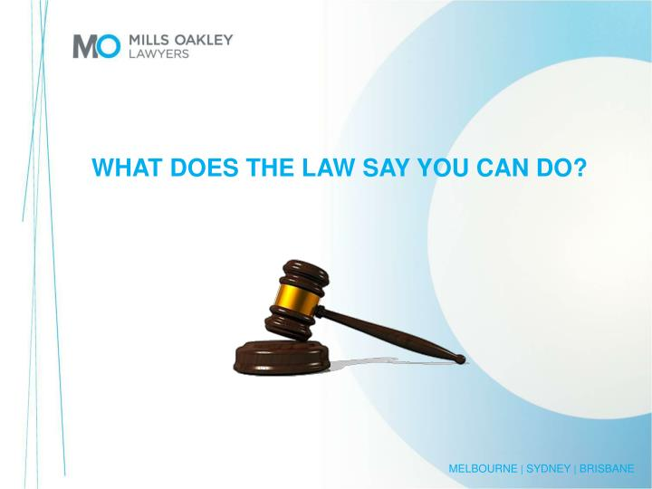 WHAT DOES THE LAW SAY YOU CAN DO?