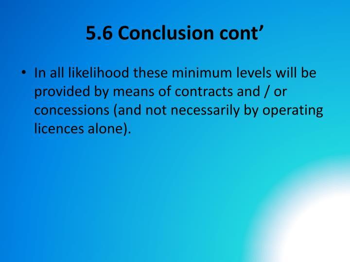5.6 Conclusion cont'
