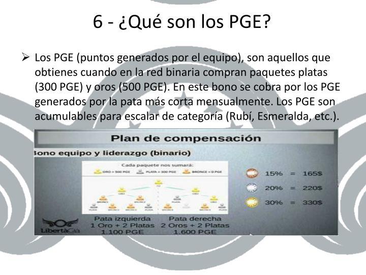 6 - ¿Qué son los PGE?