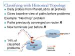 classifying with historical topology