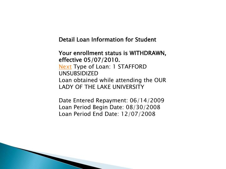 Detail Loan Information for