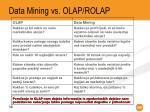 data mining vs olap rolap