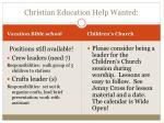 christian education help wanted