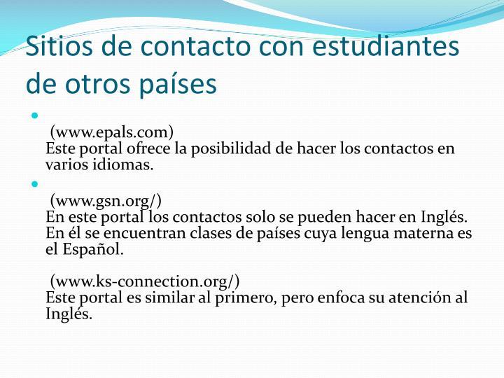 Sitios de contacto con estudiantes de otros países