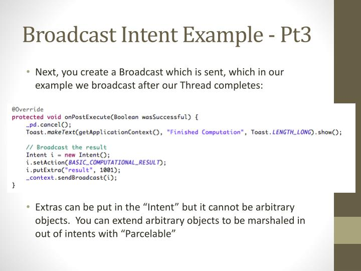 Broadcast Intent Example -
