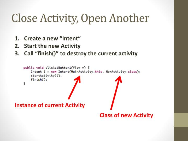 Close Activity, Open Another