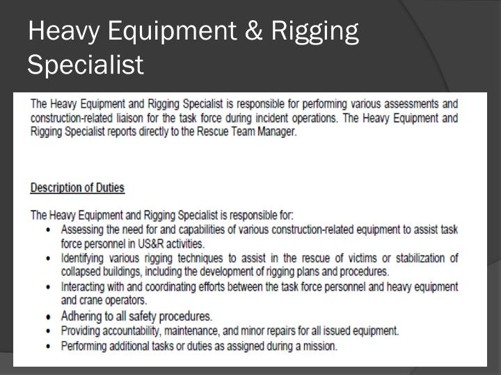 Heavy Equipment & Rigging Specialist
