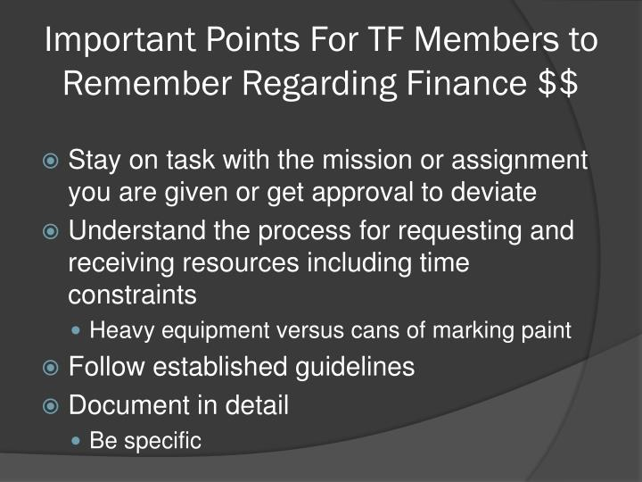 Important Points For TF Members to Remember Regarding Finance $$