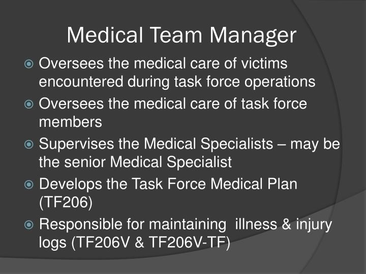 Medical Team Manager