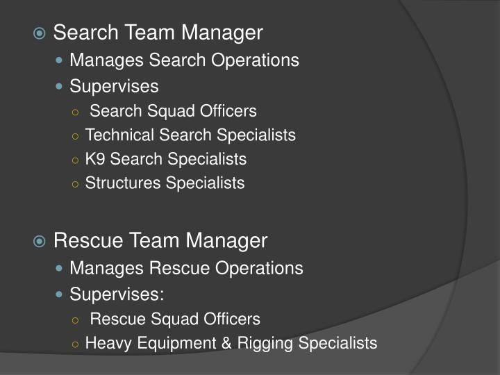 Search Team Manager