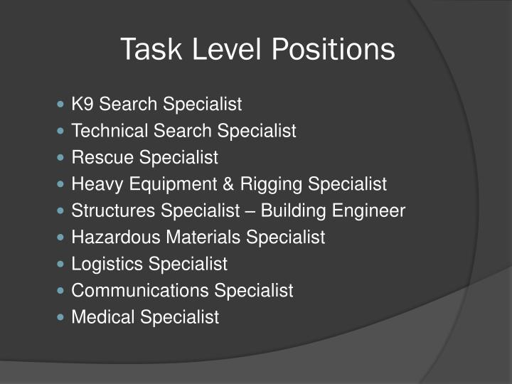 Task Level Positions