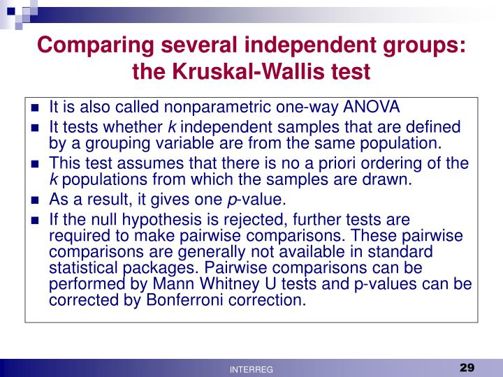 Comparing several independent groups: the Kruskal-Wallis test