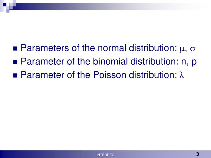 Parameters of the normal distribution:
