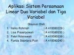 aplikasi sistem persamaan linear dua variabel dan tiga variabel
