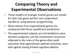comparing theory and experimental observations