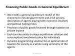 financing public goods in general equilibrium