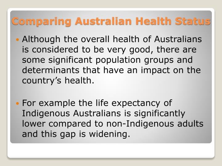 Although the overall health of Australians is considered to be very good, there are some significant population groups and determinants that have an impact on the country's health.