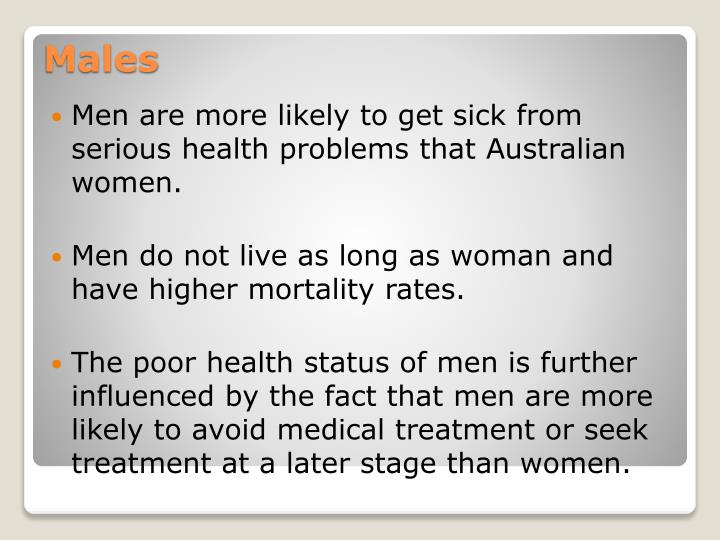 Men are more likely to get sick from serious health problems that Australian women.