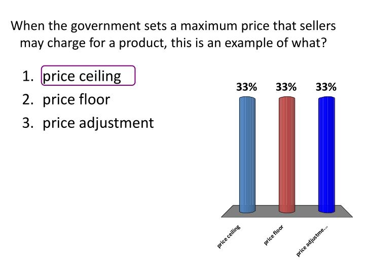 When the government sets a maximum price that sellers may charge for a product