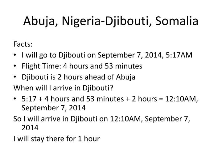 Abuja, Nigeria-Djibouti, Somalia