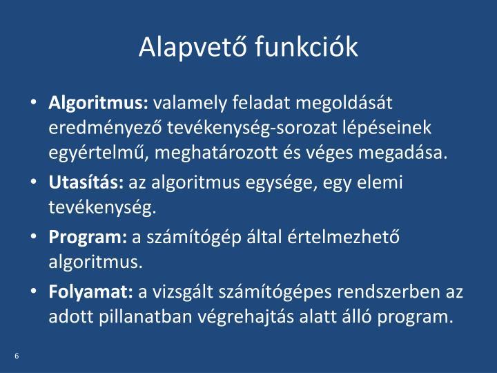 Alapvető funkciók